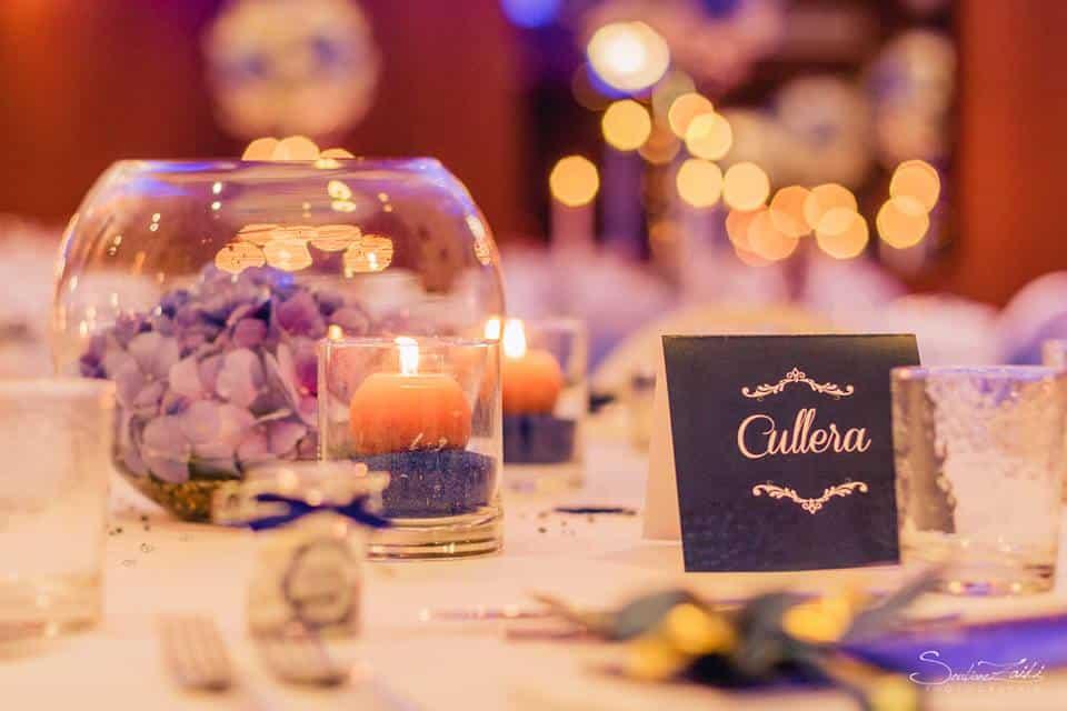 5 regles pour une belle table de mariage - centre de table hortensia bleu