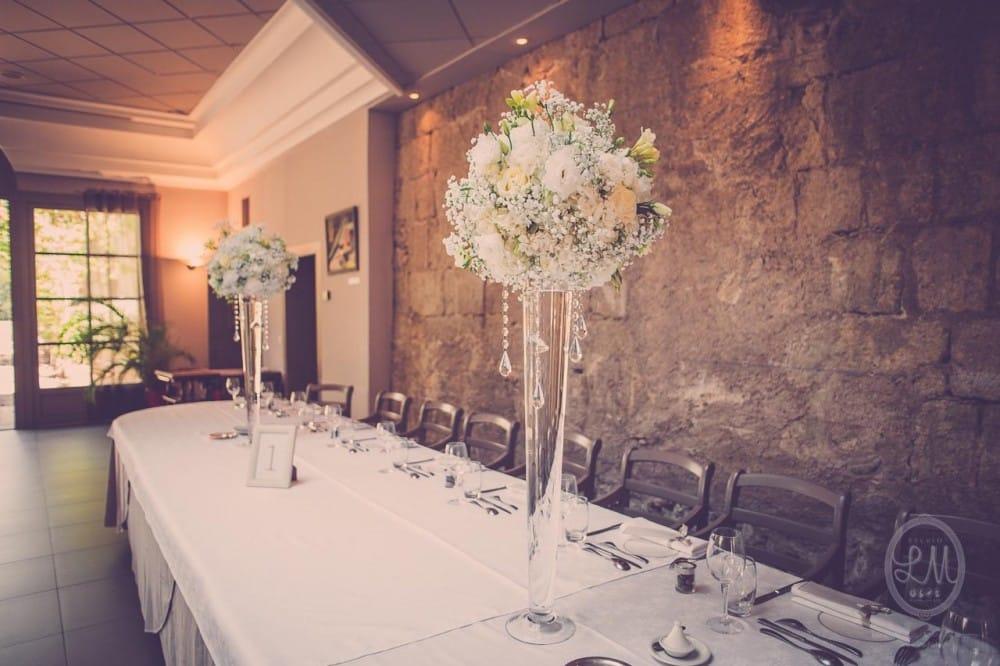 decoration de mariage elegante - compo haute - mariage blanc