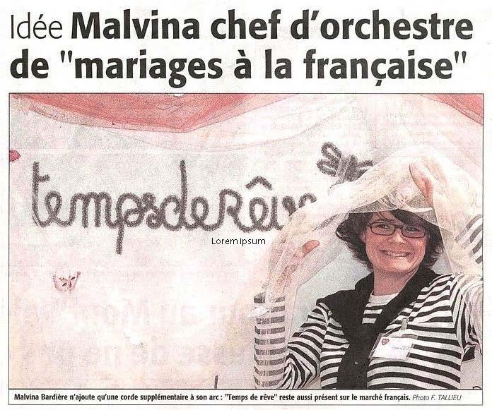 Malvina Chef d'orchestre des mariages à la française