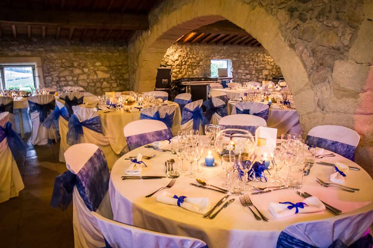 déco de table mariage bleu